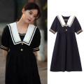 Dress Summer 2021 black S,M,L longuette singleton  Short sleeve commute Doll Collar Loose waist Solid color zipper A-line skirt other Others 18-24 years old Type A Other / other lady 71% (inclusive) - 80% (inclusive) brocade cotton