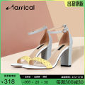 Sandals 34 35 36 37 38 39 Red + white + Black Yellow + white + grey top layer leather Classic / high Barefoot Thick heel Super high heel (over 8cm) Summer of 2019 Color matching Adhesive shoes Youth (18-40 years old) rubber daily Lateral space Sheepskin Sheepskin XI9837815 Fashion sandals