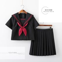 student uniforms Summer 2021, winter 2021, spring 2021, autumn 2021 S,M,L,XL,XXL Long sleeves solar system skirt 18-25 years old Huachuan silk All black and red