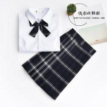 student uniforms Summer 2020, spring 2020, winter 2020, autumn 2020 S,M,L,XL,XXL Short sleeve solar system skirt 18-25 years old pure cotton Plaid skirt