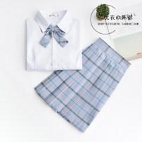 student uniforms Summer 2021, winter 2021, spring 2021, autumn 2021 XXL,S,M,L,XL Short sleeve solar system skirt 18-25 years old pure cotton Plaid skirt