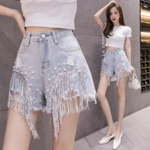 Jeans Spring 2021 wathet S,M,L,XL,2XL Super shorts High waist Wide legged trousers routine Nail bead Cotton denim 91% (inclusive) - 95% (inclusive)