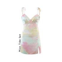 Dress Summer 2020 tie-dyed S,M,L Short skirt singleton  Sleeveless commute V-neck High waist Decor Socket A-line skirt routine camisole MICN Retro printing other polyester fiber