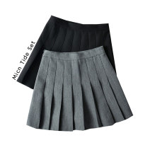 skirt Spring 2021 S,M,L,XL Gray, black Short skirt Versatile High waist Pleated skirt Solid color Type A More than 95% other MICN polyester fiber fold