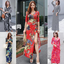 Dress Summer 2021 S,M,L,XL,XXL longuette singleton  elbow sleeve Sweet V-neck High waist Decor other Irregular skirt other Breast wrapping 18-24 years old Type A Other / other Bowknot, asymmetry, bandage, tie dye, printing 31% (inclusive) - 50% (inclusive) Chloroprene Bohemia