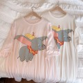 Nightdress Other / other Average size Cartoon Short sleeve Middle-skirt summer Crew neck cotton printing More than 95%
