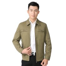 Jacket Other / other Business gentleman Khaki, pickle green L,XL,2XL,3XL routine easy Home spring 35A 902 Long sleeves Wear out Lapel Business Casual middle age routine Zipper placket Cloth hem No iron treatment Loose cuff Solid color Inlay decoration Side seam pocket cotton More than 95%