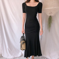Dress Summer 2020 black S M L longuette singleton  Short sleeve commute One word collar High waist Solid color Socket other other Others 18-24 years old Type X Silver Simplicity Three dimensional decoration YGZ20005 51% (inclusive) - 70% (inclusive) other polyester fiber Pure e-commerce (online only)