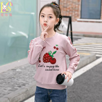T-shirt Pink kitten flower lovely girl mosaic girl cherry strawberry yellow planet lovely rabbit light purple fox meat powder deer love white love pink Aier rabbit 120cm 130cm 140cm 150cm 160cm female spring and autumn Long sleeves Crew neck leisure time nothing cotton Cartoon animation AY273 Class B