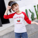 T-shirt Aier rabbit 110cm 120cm 130cm 140cm 150cm 160cm female spring and autumn Long sleeves Crew neck leisure time There are models in the real shooting nothing cotton Cartoon animation Cotton 100% Class B Spring 2021