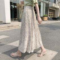skirt Summer 2021 S,M,L Black, apricot beige, navy longuette commute High waist Pleated skirt Broken flowers Type A 30-34 years old A001 71% (inclusive) - 80% (inclusive) Chiffon Other / other Vinylon Fold, print Korean version