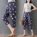 Casual pants Brown, orange, blue, gray, black M,L,XL,2XL Summer of 2019 Cropped Trousers Haren pants commute routine 71% (inclusive) - 80% (inclusive) cotton Retro printing and dyeing cotton