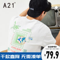 T-shirt Youth fashion Black extra white routine 165/80A/S 170/84A/M 175/88A/L 180/92A/XL 185/96A/XXL A21 Short sleeve Crew neck easy Other leisure spring R411131103 Cotton 100% youth Off shoulder sleeve tide other Spring 2021 Geometric pattern printing cotton other Fashion brand More than 95%