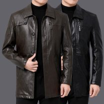 leather clothing Others Business gentleman Black, brown 165,170,175,180,185,190 Medium length Leather clothes Lapel Slim fit zipper autumn leisure time middle age Business Casual Round hem other No iron treatment