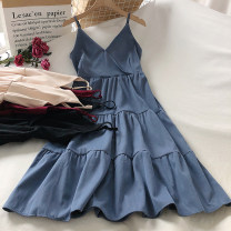 Dress Autumn 2020 Apricot, black, red, blue Average size longuette singleton  Sleeveless commute V-neck High waist Solid color Socket A-line skirt routine camisole 18-24 years old Type A Splicing polyester fiber