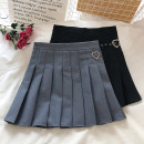 skirt Autumn 2020 S,M,L Black, gray Short skirt Versatile High waist Pleated skirt Solid color Type A 18-24 years old fold