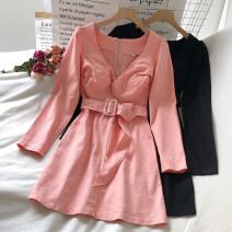 Dress Autumn 2020 White, black, pink S, M Short skirt singleton  Long sleeves commute V-neck High waist Solid color Socket A-line skirt routine 18-24 years old Type A Korean version Splicing