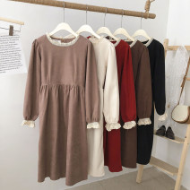 Dress Winter 2020 Apricot, black, red, camel, coffee Average size longuette singleton  Long sleeves commute Crew neck High waist Solid color Socket A-line skirt routine 18-24 years old Type A Korean version Splicing