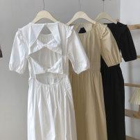 Dress Spring 2021 White, black, apricot Average size Short skirt singleton  Sleeveless commute V-neck High waist Solid color Socket A-line skirt puff sleeve camisole 18-24 years old Type A Korean version Ruffles, folds