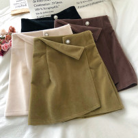 skirt Winter 2020 S,M,L Apricot, black, army green, coffee Short skirt commute High waist A-line skirt Solid color Type A 18-24 years old Wool polyester fiber zipper Korean version
