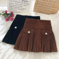 skirt Autumn 2020 S,M,L Black, brown Short skirt commute High waist Pleated skirt Solid color Type A 18-24 years old fold Korean version