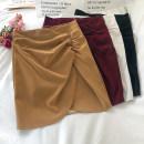 skirt Winter 2020 S,M,L White, black, Burgundy, khaki Short skirt commute High waist skirt Solid color Type A 18-24 years old polyester fiber zipper Korean version