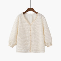 Lace / Chiffon Spring 2021 Beige S,M,L three quarter sleeve Cardigan singleton  Straight cylinder Regular V-neck Solid color puff sleeve 81% (inclusive) - 90% (inclusive)