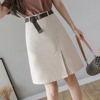 skirt Spring 2021 S,M,L,XL Apricot, black Mid length dress Versatile High waist A-line skirt Solid color Type A 25-29 years old 71% (inclusive) - 80% (inclusive) other other zipper
