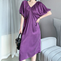 Dress Summer 2020 Rose red, lemon yellow, taro purple, elegant black, high gray S,M,L Mid length dress singleton  elbow sleeve commute V-neck Loose waist Solid color Socket A-line skirt puff sleeve 25-29 years old Type A Faying lady fold FY20042312 other