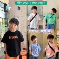 T-shirt White, black, green, blue purple, shrimp pink, white pre-sale, black pre-sale, green pre-sale, blue purple pre-sale, shrimp pink pre-sale OO+KIDS 80cm,90cm,100cm,110cm,120cm,130cm,140cm,150cm neutral summer Short sleeve Crew neck Korean version There are models in the real shooting other