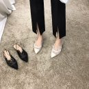 Sandals 35,36,37,38,39 Hangb211-2 black, hangb211-2 apricot Mesh Other / other Sharp point Flat heel Flat heel (1cm or less) Summer 2021 Flat buckle Wave point Adhesive shoes Cut out, buckle PU Baotou sandals