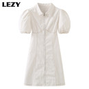 Dress Summer 2021 white S (85-93 kg), m (94-102 kg), l (103-111 kg) Mid length dress singleton  Short sleeve commute Polo collar High waist Solid color zipper A-line skirt puff sleeve Others Type A Lizzy Retro Buttons, zippers, stitches, folds More than 95% cotton