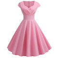 Dress Summer of 2019 Pink, green, blue, Burgundy, yellow, black S,M,L,XL,2XL Middle-skirt singleton  Short sleeve commute V-neck High waist Solid color Big swing other Others Retro 81% (inclusive) - 90% (inclusive) other polyester fiber