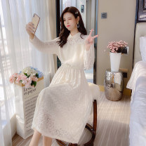 Dress Autumn 2021 Apricot, pink S,M,L,XL Mid length dress singleton  Long sleeves commute other Elastic waist Solid color Socket A-line skirt other Type A Korean version Splicing 81% (inclusive) - 90% (inclusive) Lace