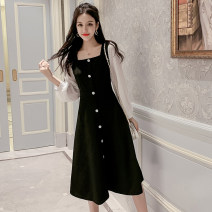 Dress Autumn 2021 black S,M,L,XL,2XL Mid length dress singleton  Long sleeves commute square neck middle-waisted Solid color zipper A-line skirt other Type A Korean version Button, button 81% (inclusive) - 90% (inclusive) Cellulose acetate