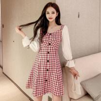 Dress Autumn 2021 Red, purple S,M,L,XL Mid length dress singleton  Long sleeves commute square neck High waist lattice zipper A-line skirt puff sleeve Type A Korean version Bowknot, stitching, button 81% (inclusive) - 90% (inclusive) Chiffon
