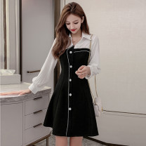 Dress Autumn 2021 black S,M,L,XL,2XL Mid length dress singleton  Long sleeves commute tailored collar middle-waisted Solid color zipper A-line skirt other Type A Korean version Button, button 81% (inclusive) - 90% (inclusive) Cellulose acetate