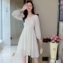 Dress Autumn 2021 white S,M,L,XL Mid length dress singleton  Long sleeves commute square neck middle-waisted Solid color zipper A-line skirt other Type A Korean version Bowknot, lace up, stitching 81% (inclusive) - 90% (inclusive) Chiffon