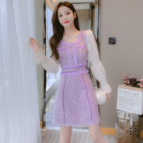 Dress Autumn 2021 violet S,M,L,XL Mid length dress singleton  Long sleeves commute square neck middle-waisted Solid color zipper A-line skirt other Type A Korean version Button, button 81% (inclusive) - 90% (inclusive)