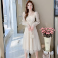 Dress Spring 2021 Apricot S,M,L,XL Mid length dress singleton  Long sleeves commute square neck middle-waisted Solid color zipper A-line skirt other Type A Korean version Bowknot, lace up, stitching 81% (inclusive) - 90% (inclusive) Lace