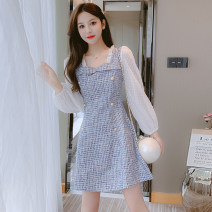 Dress Autumn 2021 Blue, pink, blue S,M,L,XL Mid length dress singleton  Long sleeves commute square neck middle-waisted lattice zipper A-line skirt puff sleeve Type A Korean version Fungus, splicing 81% (inclusive) - 90% (inclusive)