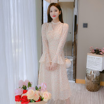 Dress Autumn 2021 Picture color S,M,L Mid length dress singleton  Long sleeves commute V-neck middle-waisted Broken flowers zipper A-line skirt other Type A Korean version Splicing 81% (inclusive) - 90% (inclusive) Chiffon