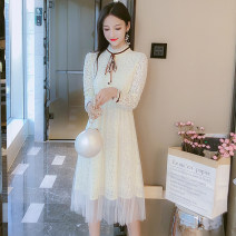 Dress Spring 2021 Apricot S,M,L,XL Mid length dress singleton  Long sleeves commute Crew neck Elastic waist Solid color Socket A-line skirt other Type A Korean version Bowknot, Auricularia auricula, lace, stitching 81% (inclusive) - 90% (inclusive) Lace