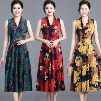 Dress Summer 2021 1302 long skirt-1, 1302 long skirt-2, 1302 long skirt-3, 1302 long skirt-5, 1302 long skirt-6, 1302 long skirt-7, 1302 long skirt-8, 1302 long skirt-9, 1302 long skirt-10 L,XL,2XL,3XL longuette singleton  Sleeveless commute V-neck middle-waisted Decor Socket Big swing routine T-type