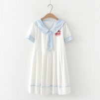 Dress Summer 2021 White, light blue Average size Middle-skirt singleton  Short sleeve Sweet Admiral High waist Big swing routine Under 17 Type H Three dimensional decoration, printing 81% (inclusive) - 90% (inclusive) cotton solar system