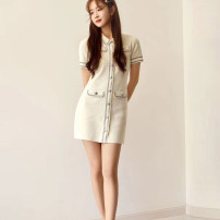 Dress Spring 2020 White, blue S,M,L Mid length dress Short sleeve Solid color Single breasted 25-29 years old Dbny / changeable girlfriend