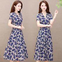 Dress Summer 2021 Color 1, color 2, color 3, color 5, color 6, color 7, color 8, color 9, color 10, color 11, color 12, color 13, color 15, color 16, color 17, color 18, color 19, color 20 XL,2XL,3XL,4XL,5XL,6XL longuette singleton  Short sleeve commute V-neck middle-waisted Decor Socket A-line skirt