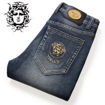 Jeans Youth fashion Medusa Versace 28,29,30,31,32,33,34,35,36,38,40 Gray blue fa8213, blue f9016, black gray k692, gray f2011, white 9044, black 9049, black 9048, ground white blue 8220 thick Micro bomb Cotton elastic denim trousers Travel? Four seasons youth middle-waisted Slim feet tide 2019 zipper