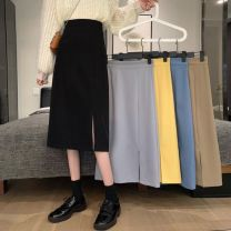 skirt Spring 2021 S,M,L,XL Khaki, light grey, blue, yellow, black Mid length dress commute High waist A-line skirt Solid color Type A 18-24 years old 30% and below Other / other other zipper Korean version