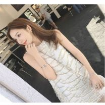 Dress Spring 2021 white L,XL,S,M Short skirt singleton  Sleeveless commute Crew neck High waist Solid color zipper Princess Dress other Others 25-29 years old Type A Other / other Korean version Hollow out, gauze More than 95%